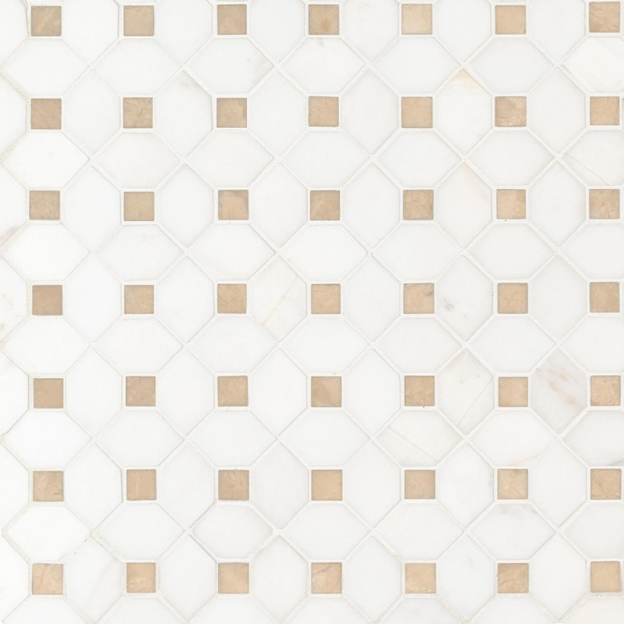 ms international specialty shapes wall series bianco dolomite crema dotty polished backsplash mosaic tile smot biandol cemdotp