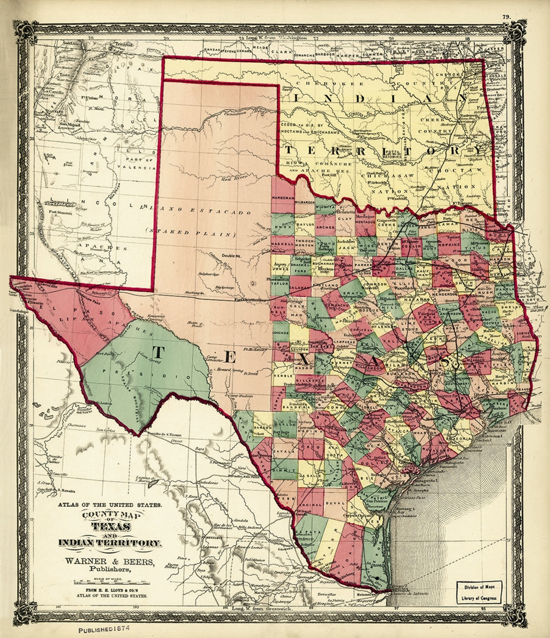 Besides, it also shares international border with mexico in the south and coastline along the mexico gulf. 1874 County Map Of Texas And Indian Territory American Art Publishing