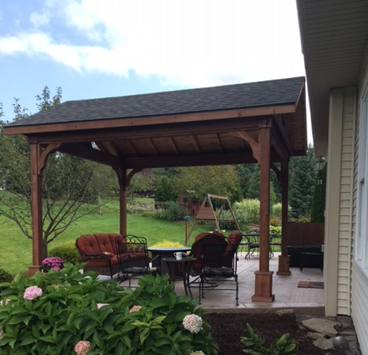 red cedar gabled roof pavilion