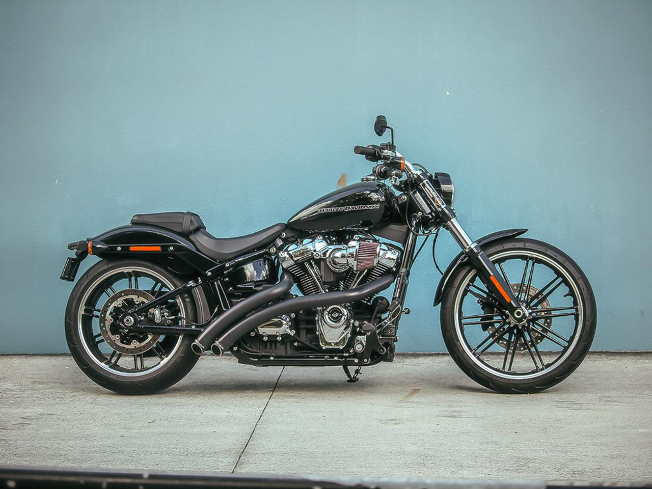 freedom performance hd00709 black radical radius exhaust softail m8 18 19