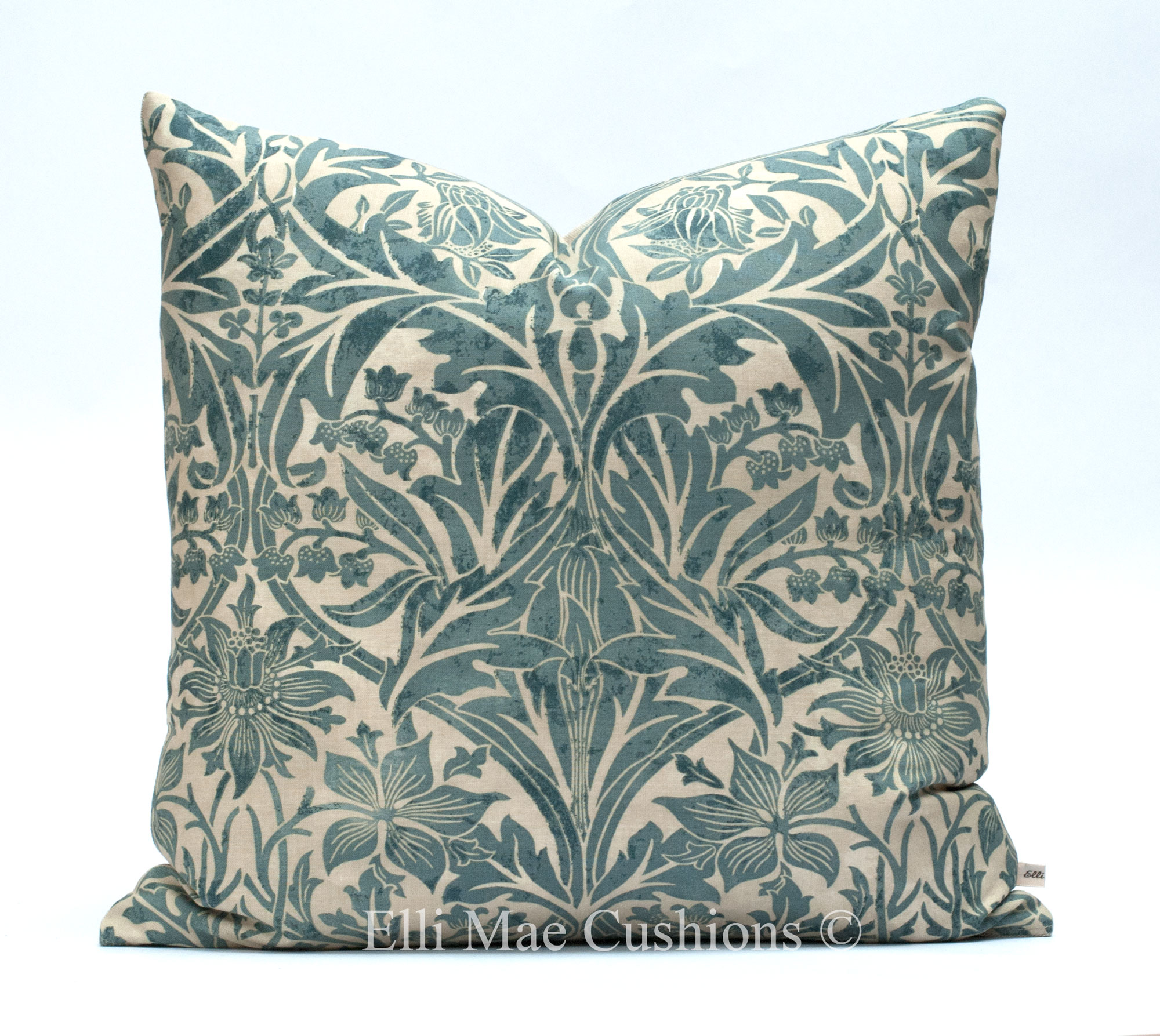 william morris bluebell blue cotton fabric vintage cushion cover throw pillow