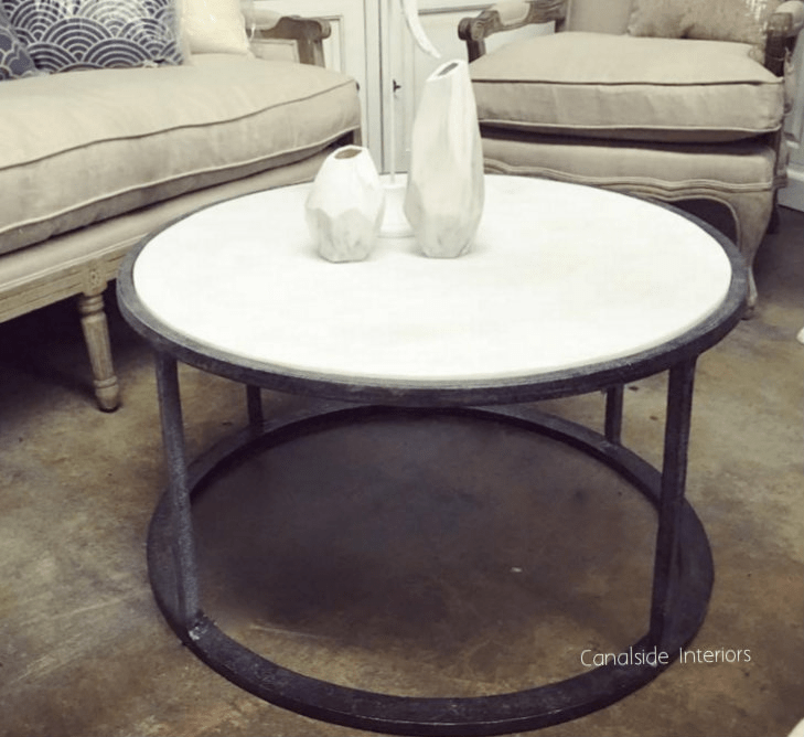 round coffee table distressed base