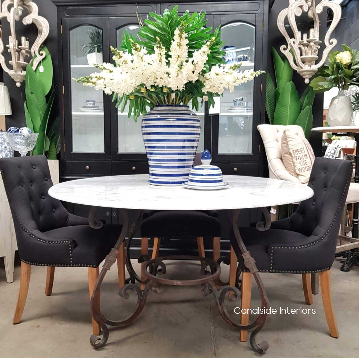 Santiago Round Dining Table Carrara Marble Top 140cm Canalside