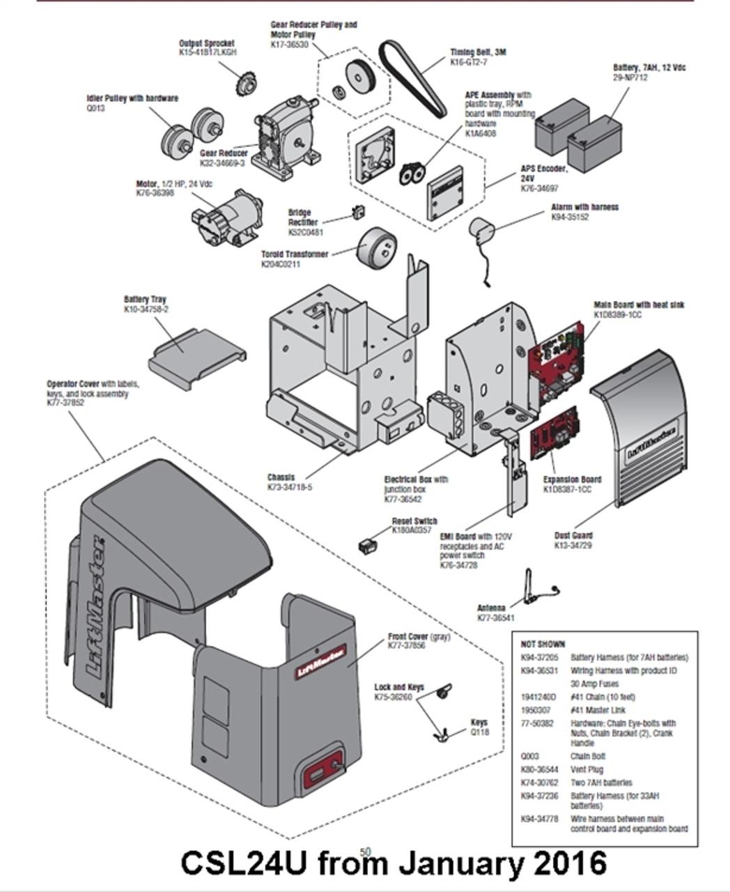 Liftmaster Csl24u Slide Gate Operator Parts Breakdown