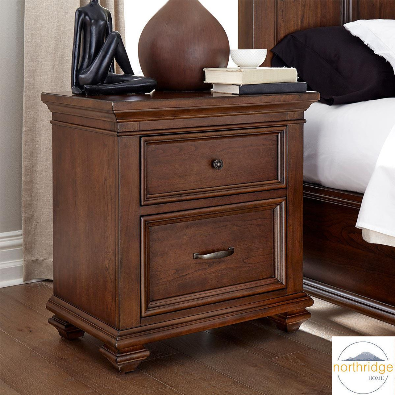northridge conner nightstand bedside table 2 storage drawers chest dark wood