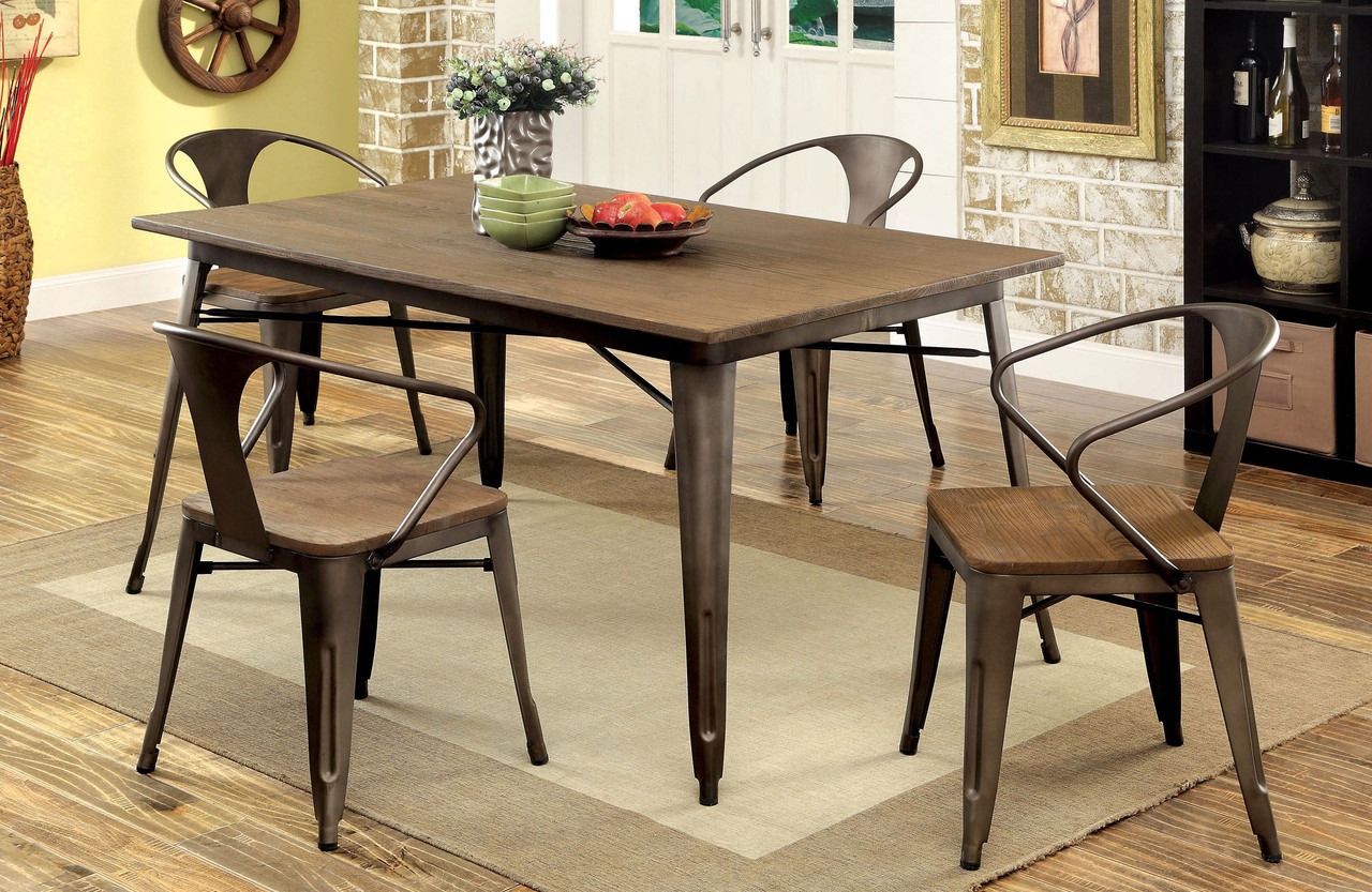 Coachella Industrial Natural Elm Table With 4 Chairs
