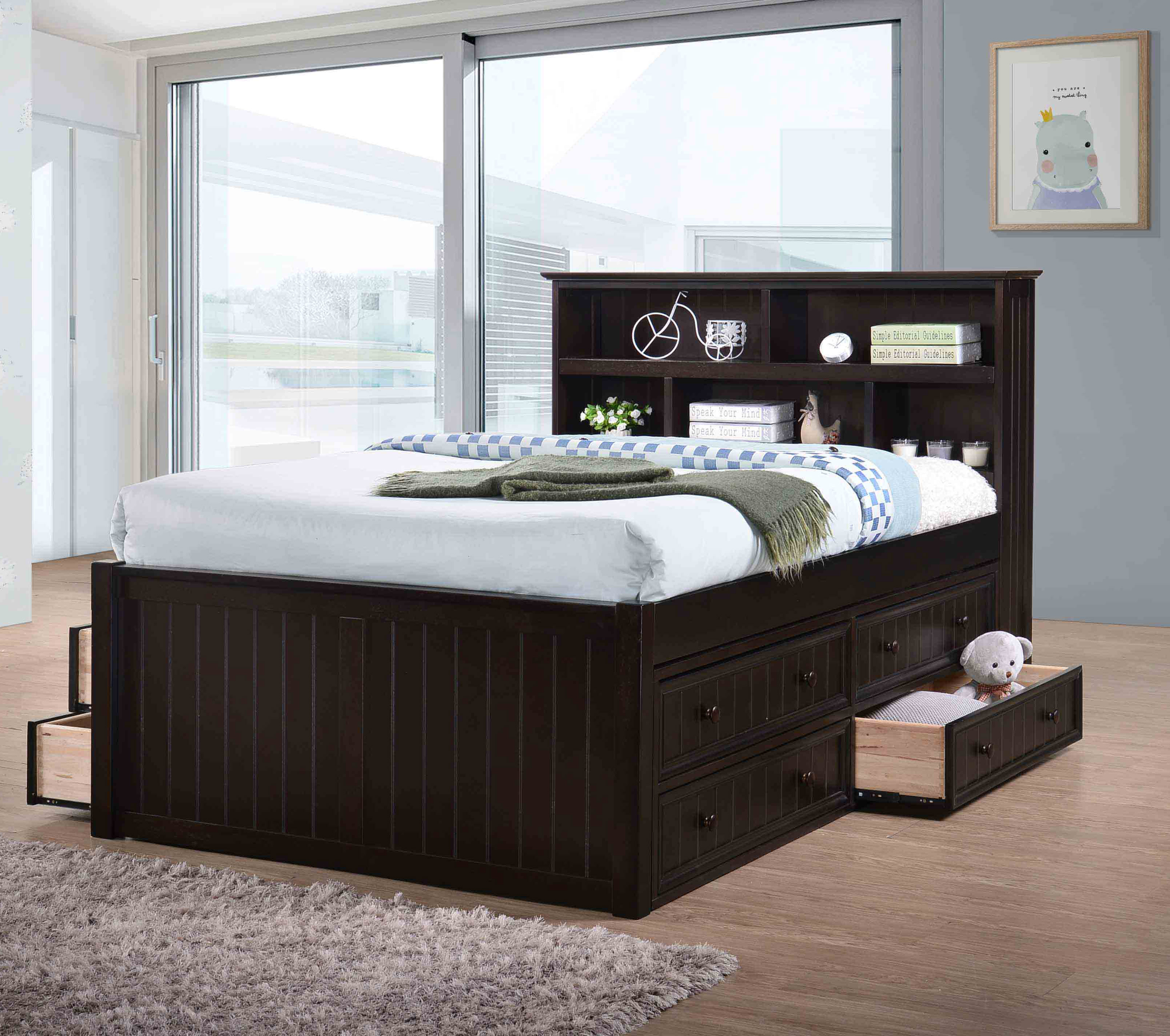 jackson extra long full captains bed with drawers