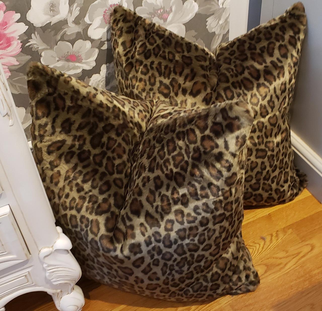 leopard throw pillow faux fur