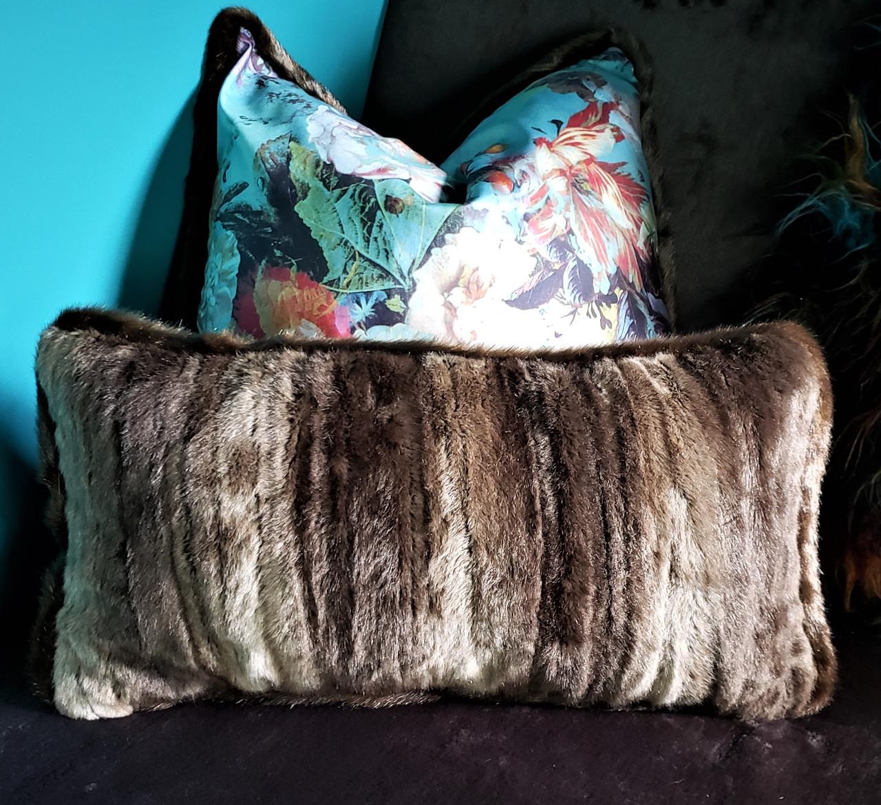 Mink Fur Lumbar Throw Pillow