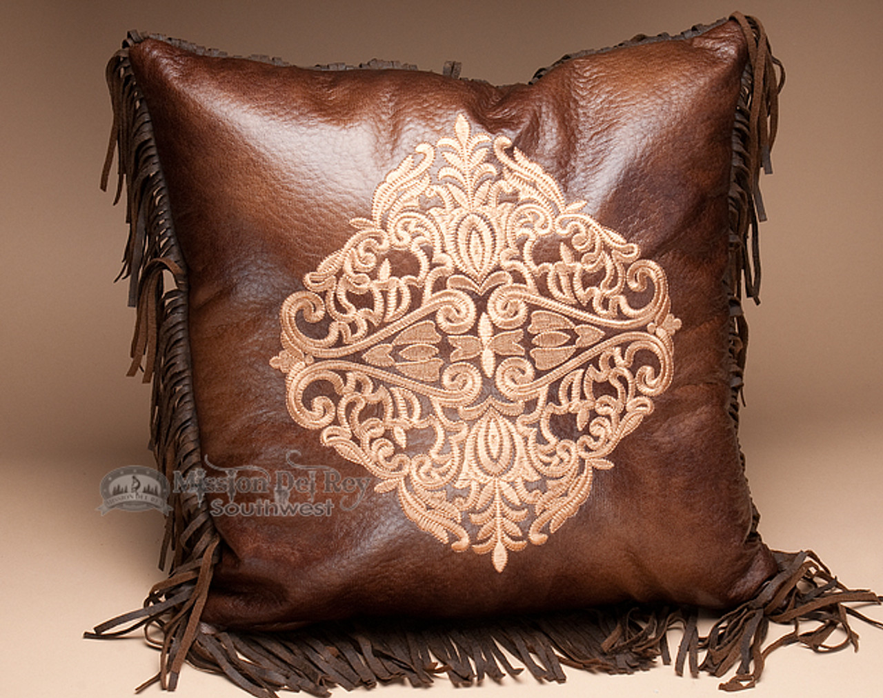 faux leather western embroidered pillow 18x18 wp22