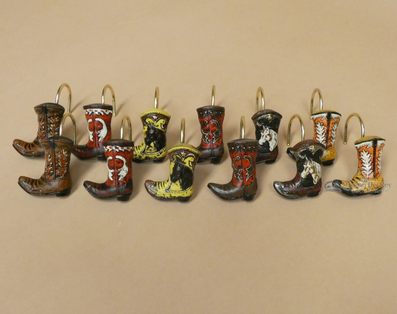 western cowboy boot shower curtain hooks 12 set