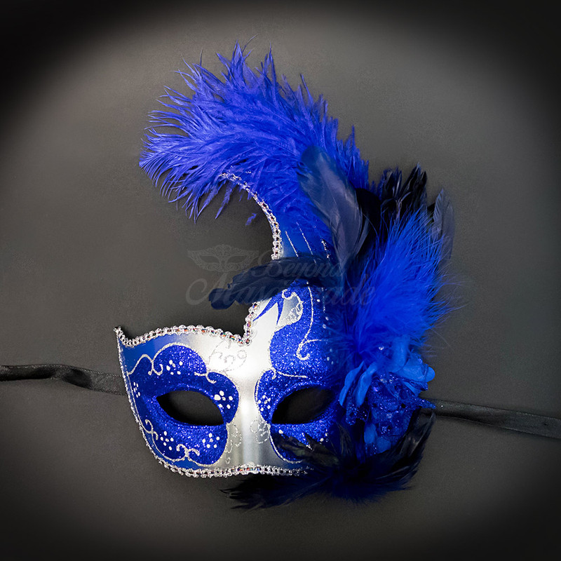 Elegant Masquerade Masks With Feathers Blue Low Prices Top Brand