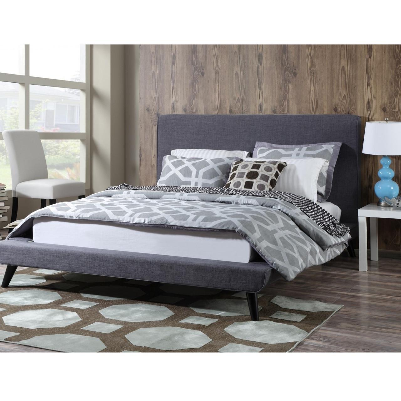 nixon mid century modern grey linen queen platform bed