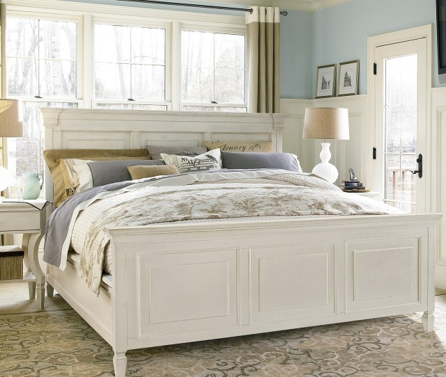Country Chic White King Panel Bed Frame