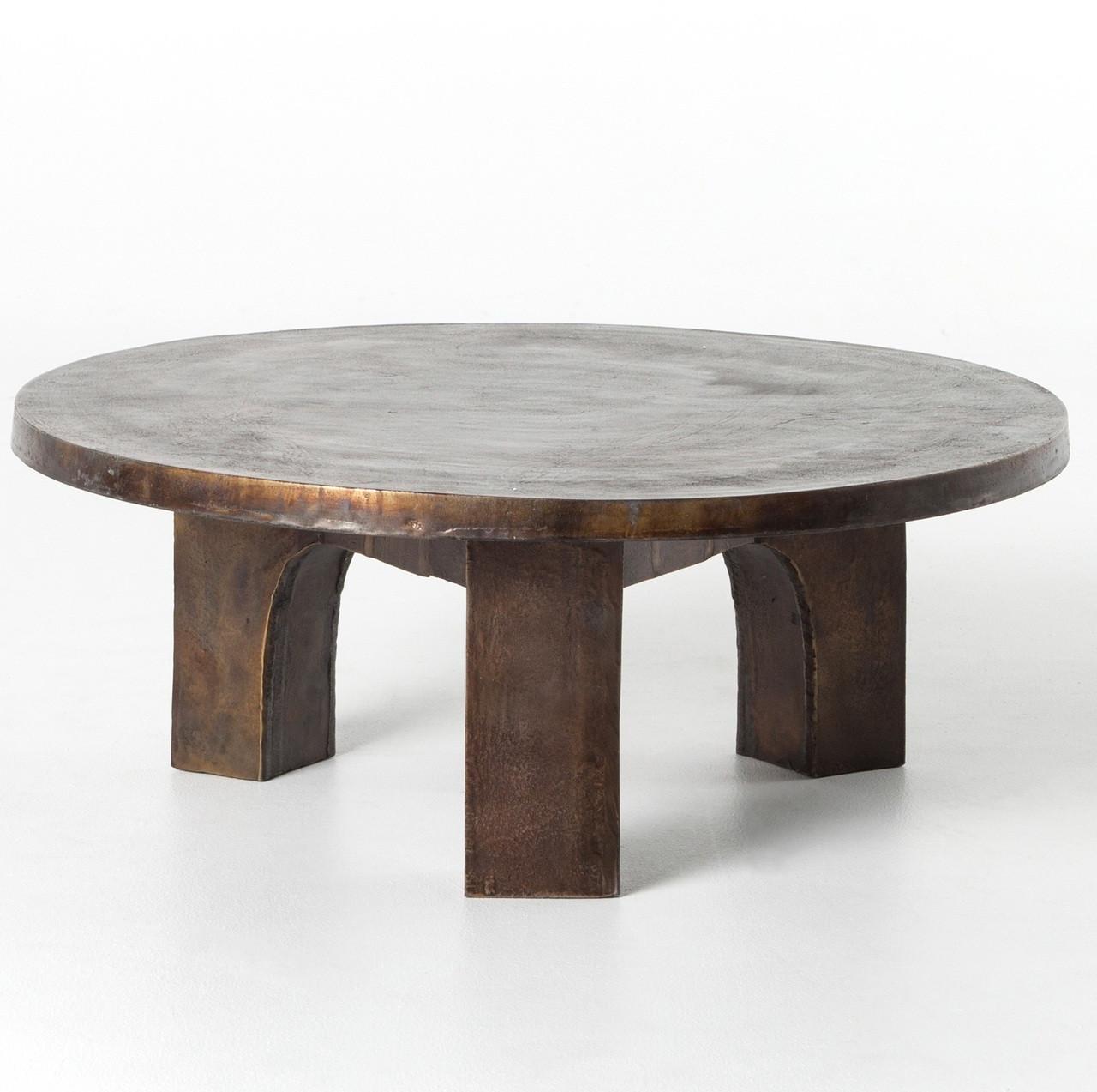 cruz round outdoor coffee table antique rust