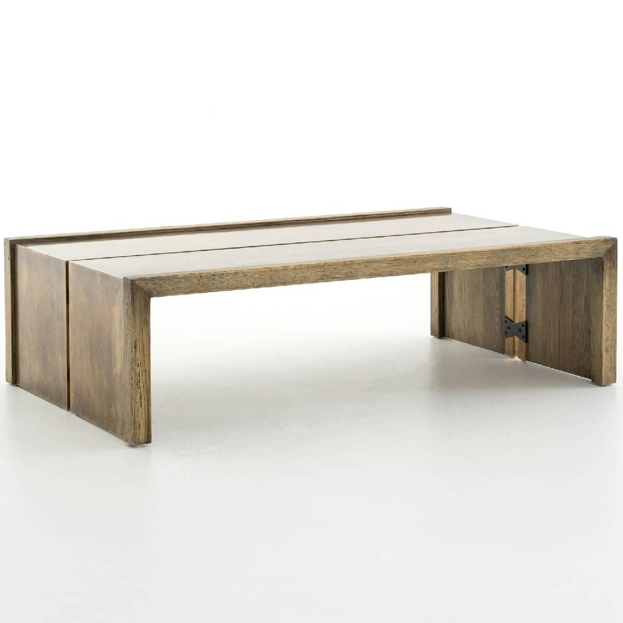weaver antiqued brass clad oak wood coffee table 50