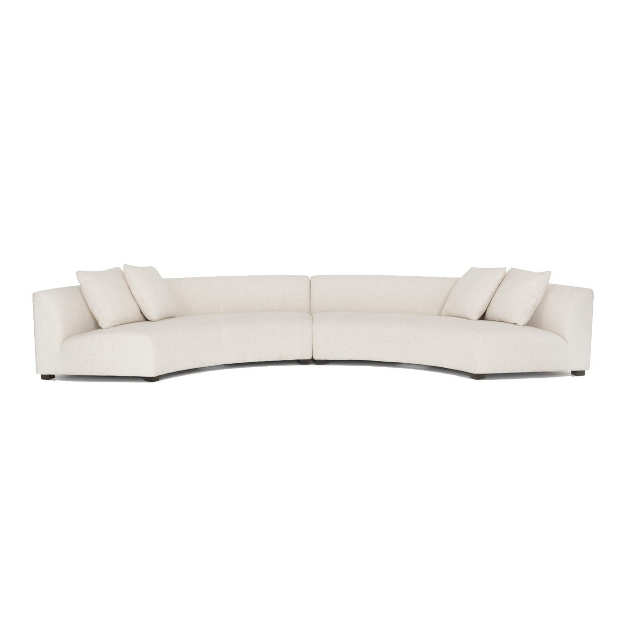 Liam Modern Cream 2 Piece Curved Sectional Sofa