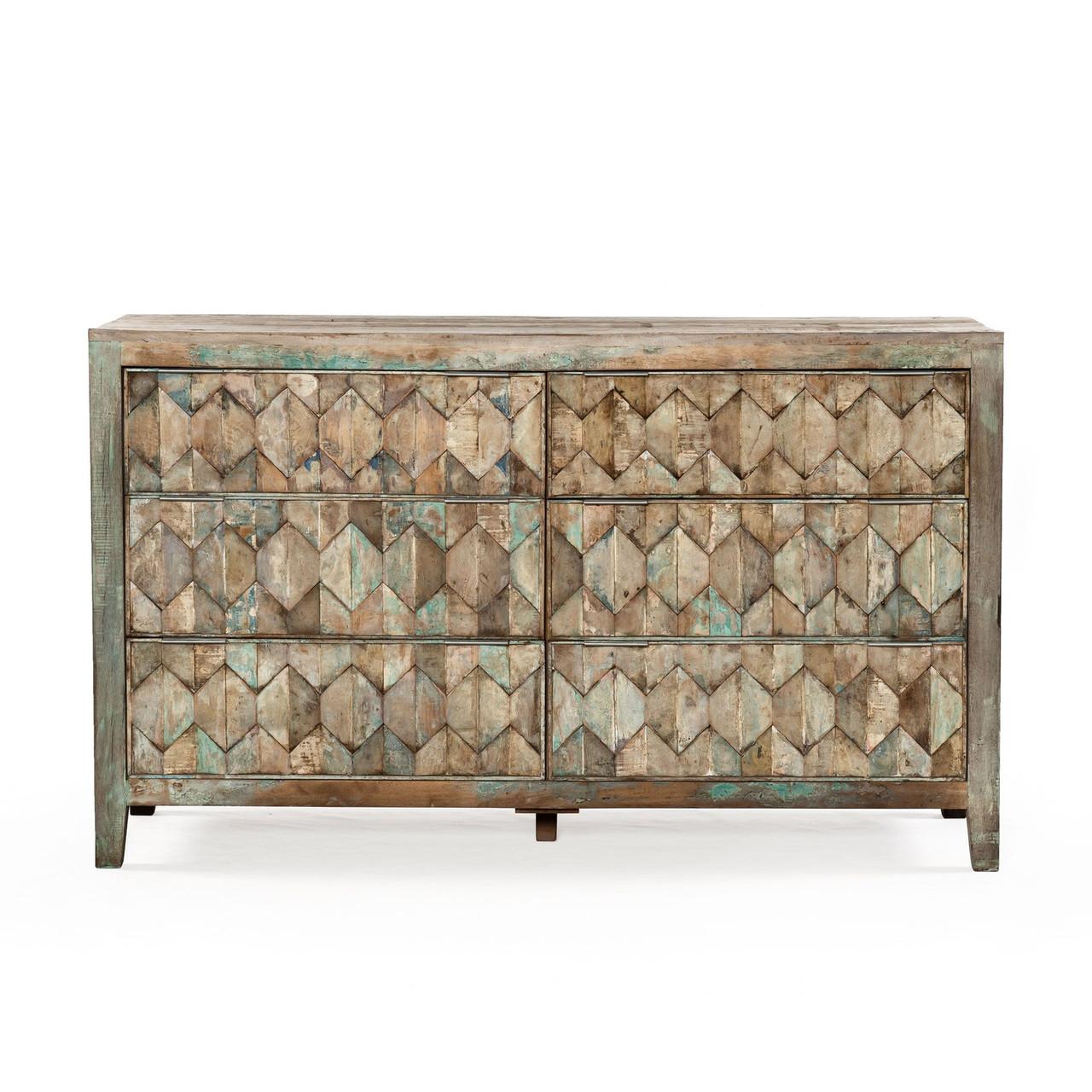 shabby chic vintage reclaimed teak 6 drawers dresser 57