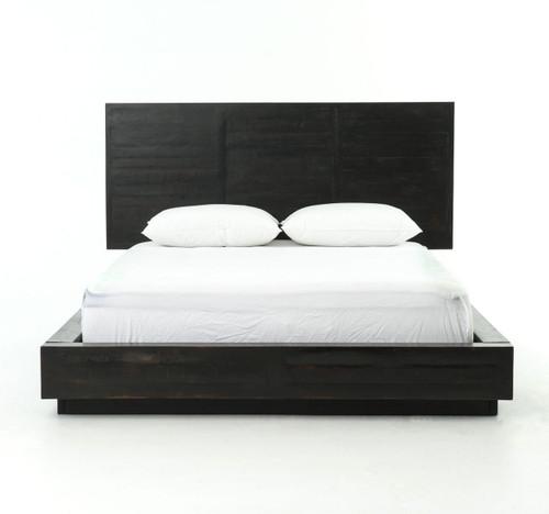 modern black wood queen size platform bed frame