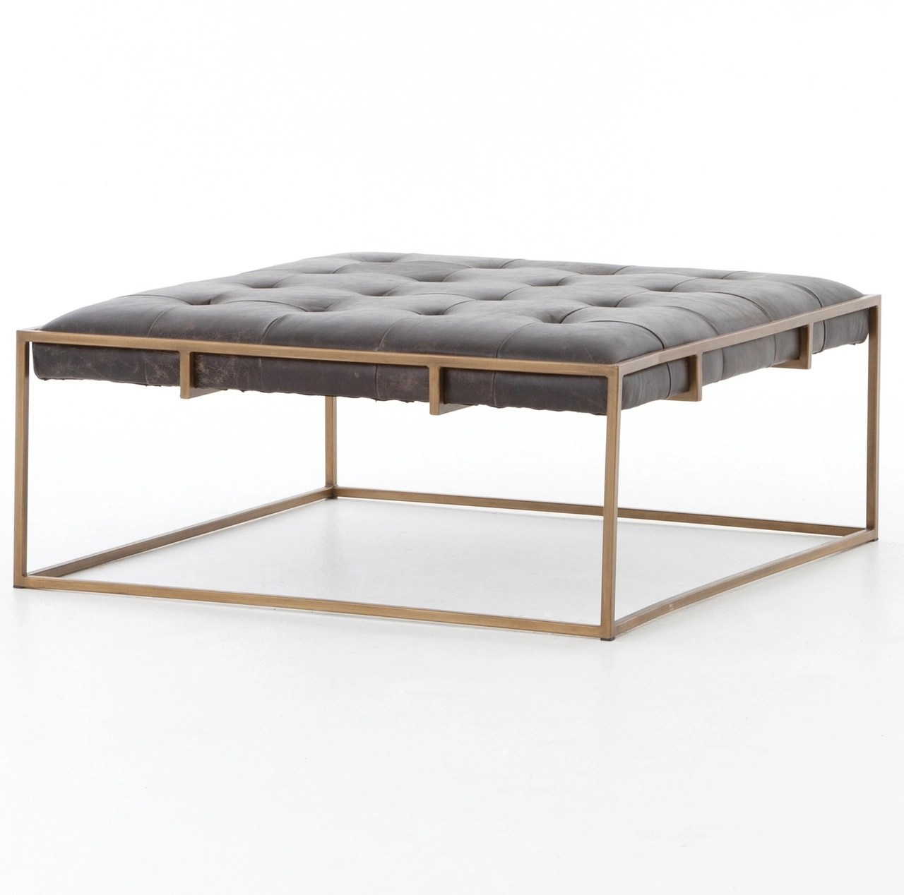 oxford tufted black leather ottoman square coffee table