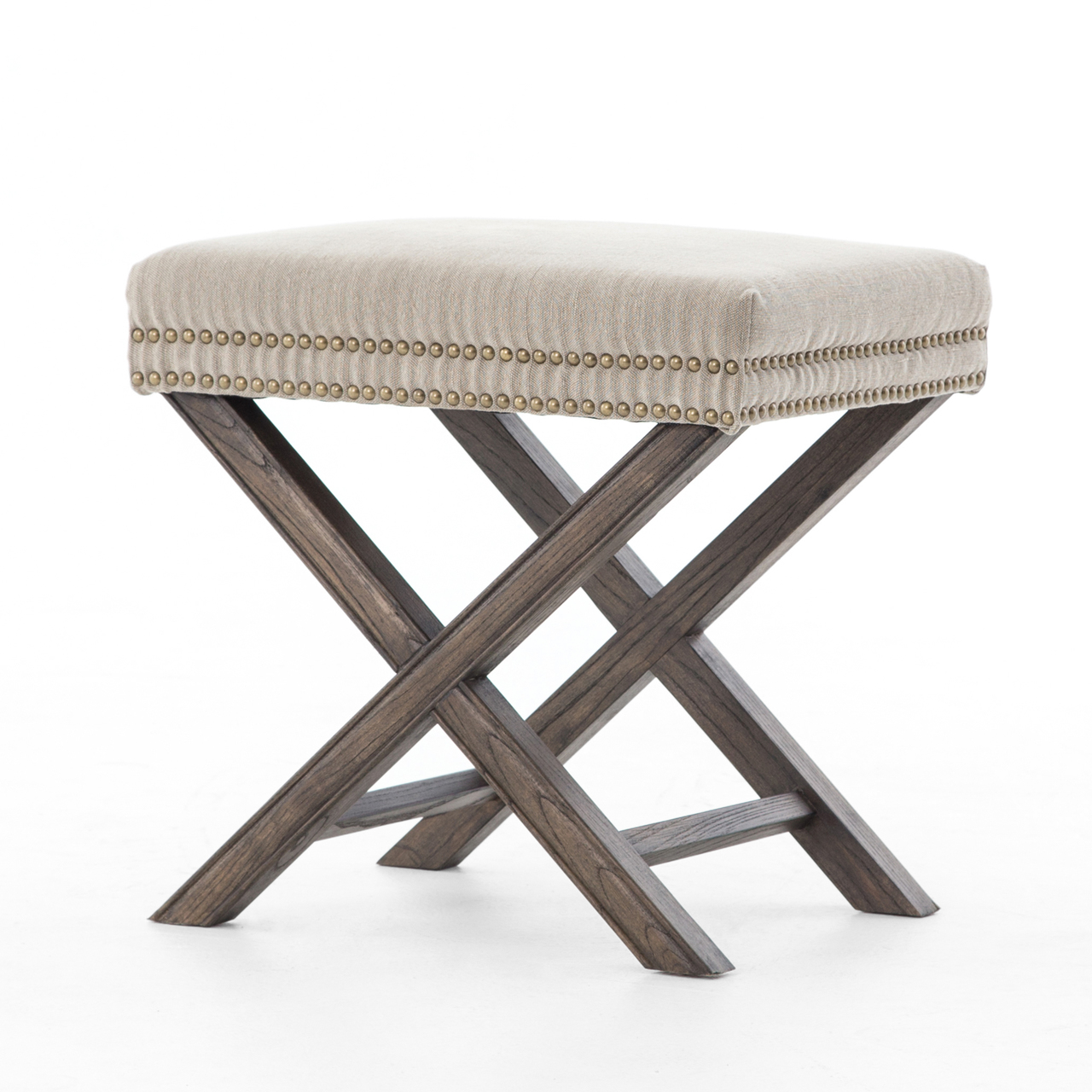 french modern x base upholstered stool ottoman