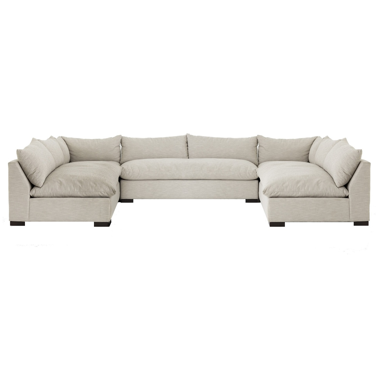 grant modern oatmeal 5 piece armless u sectional sofa