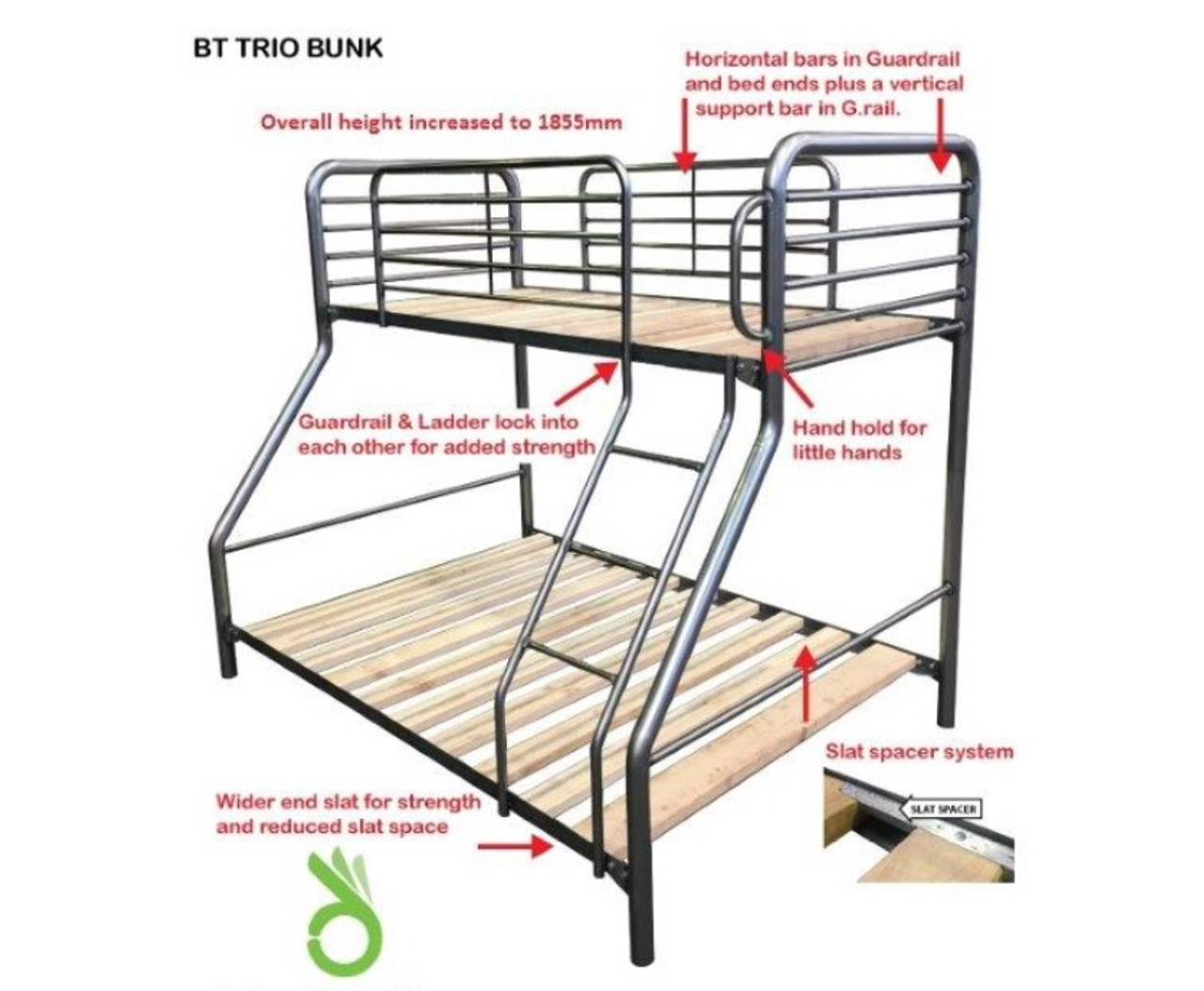 Single Over Double Commercial Trio Safety Bunk Bed Australian Made Model Bt Trio Assorted Colours My Furniture Store Furniture And Bedding Super Store Australia