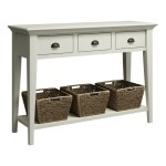Delan 3 Drawers 3 Wicker Baskets Console Table 850 H X 1200 W Antique White My Furniture Store Furniture And Bedding Super Store Australia