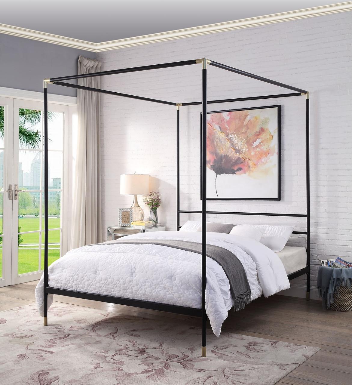 https www myfurniturestore com au queen guam 4 poster bed black and gold
