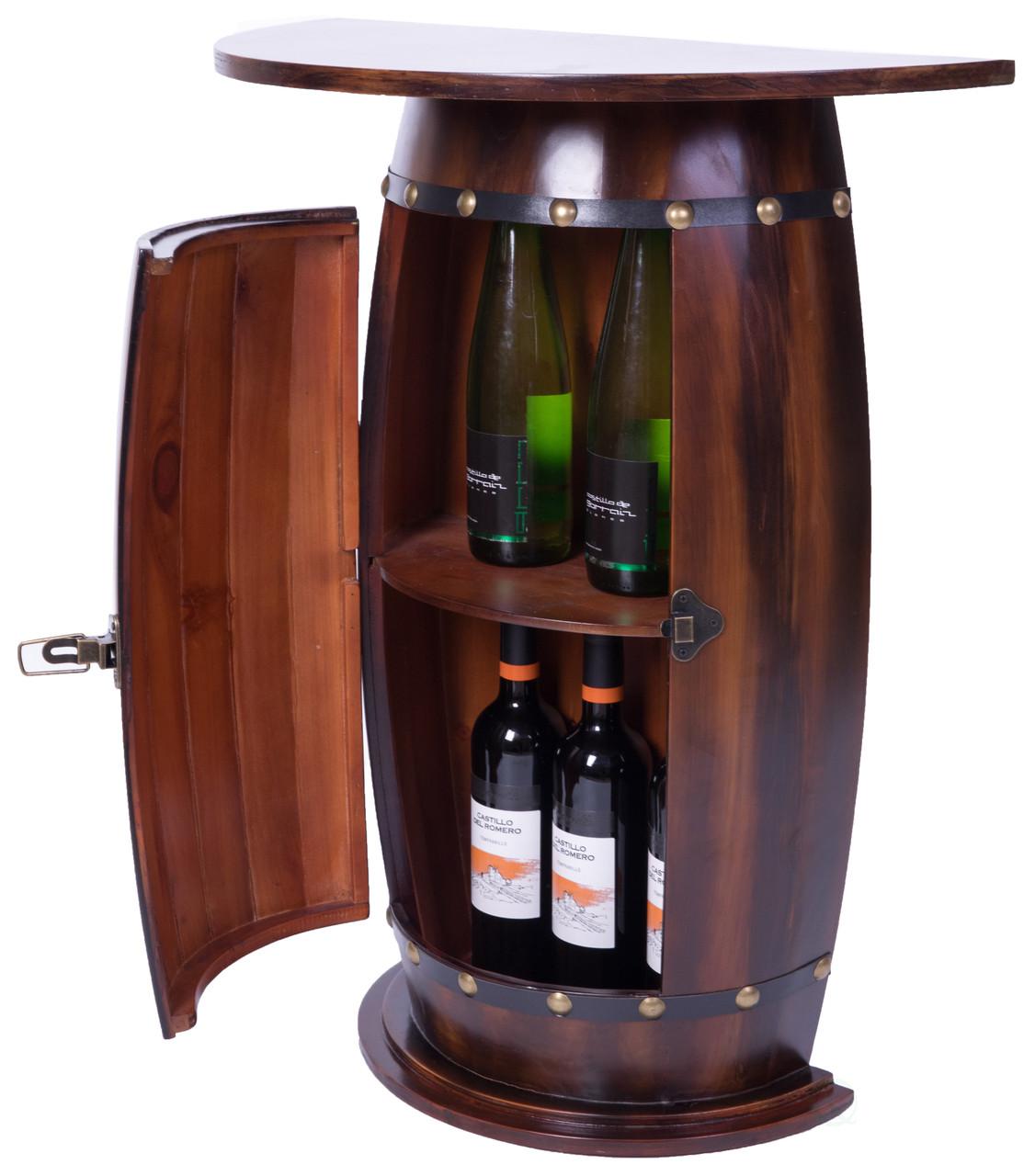 rustic lockable barrel shaped wine bar cabinet wooden end table