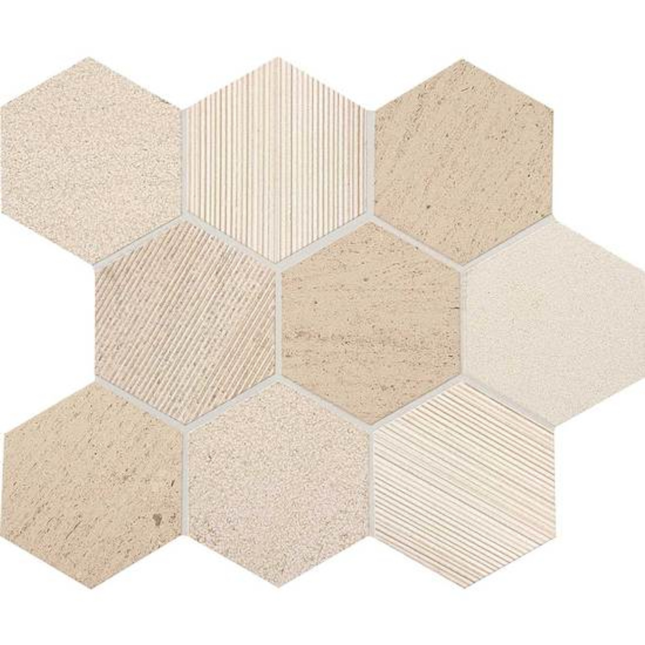 ascend honest greige mixed finish mosaic 4 in hex