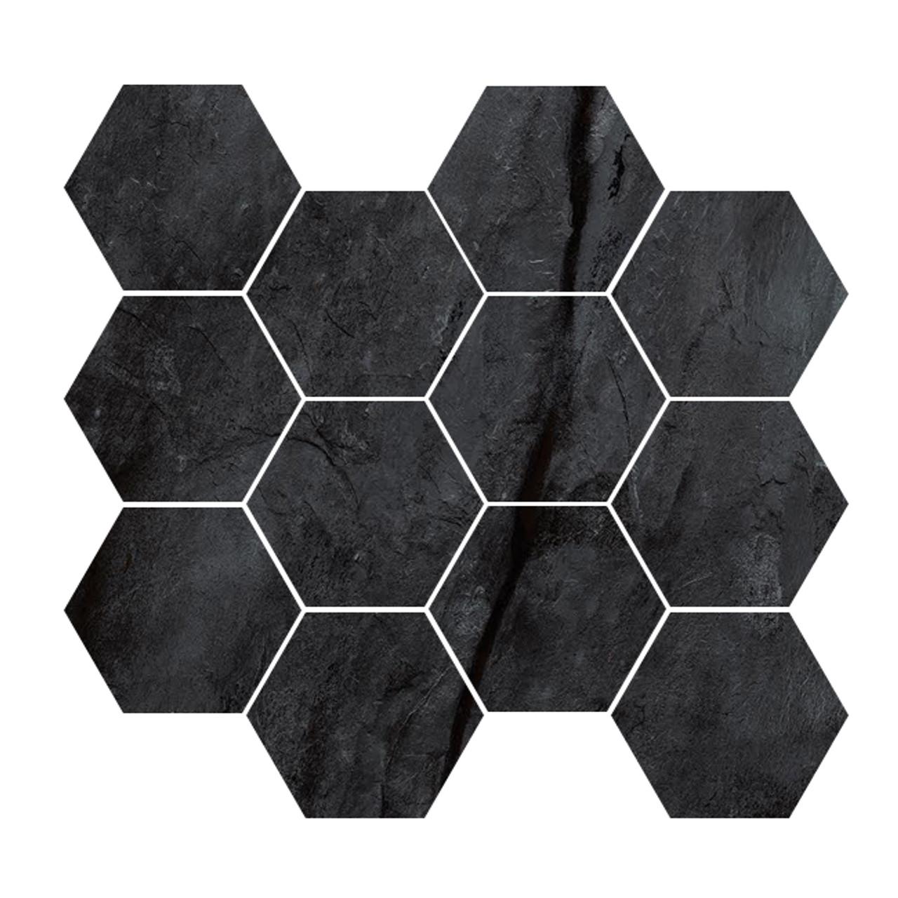renova black 4 hex mosaic