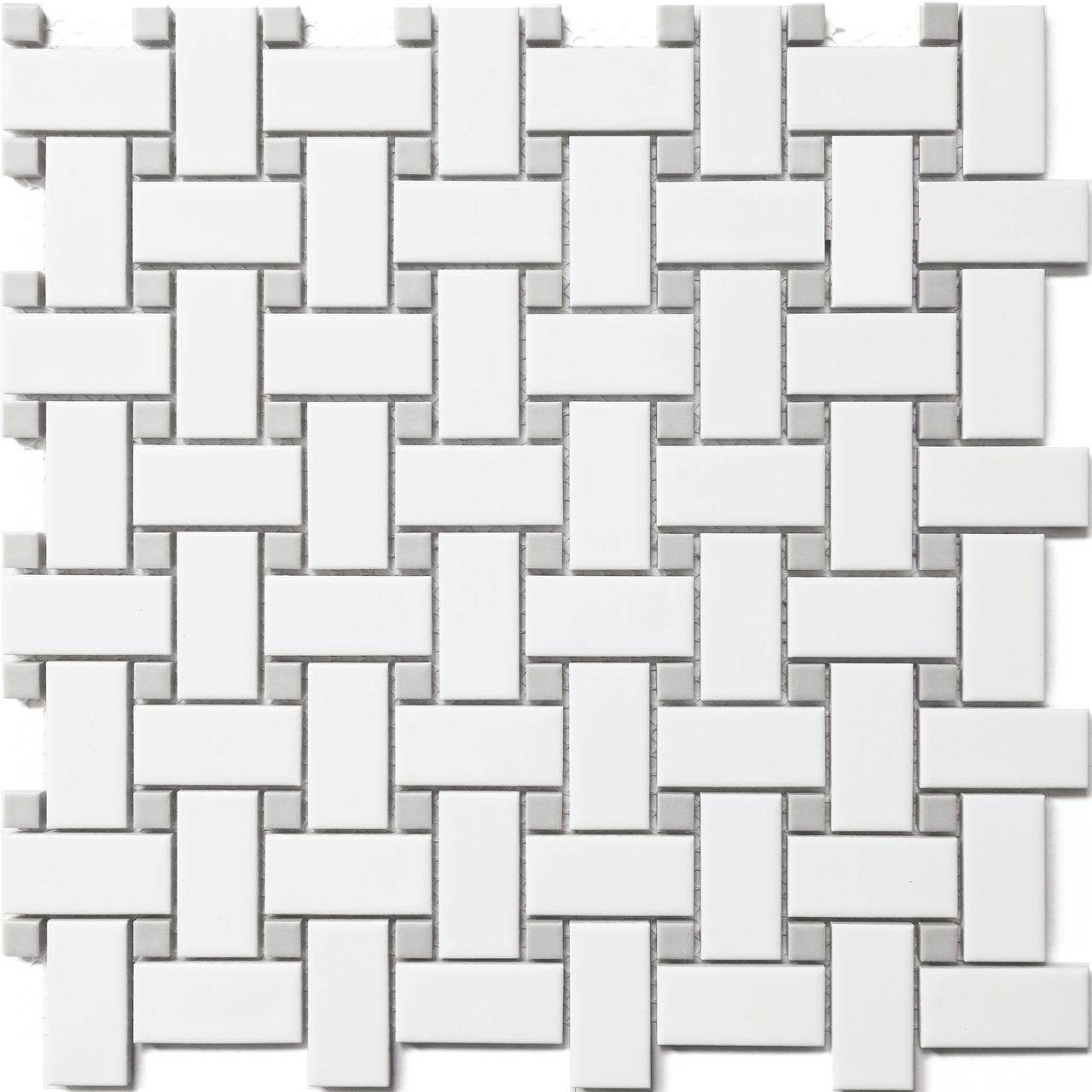 cc mosaics white grey basket weave wave dot 12x12