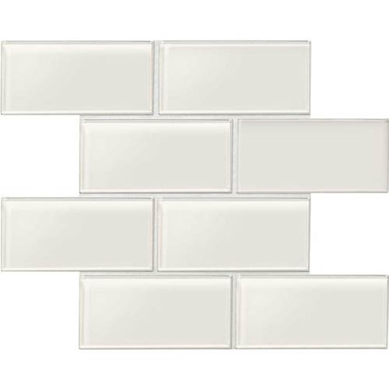 amity white subway glass tile 3x6