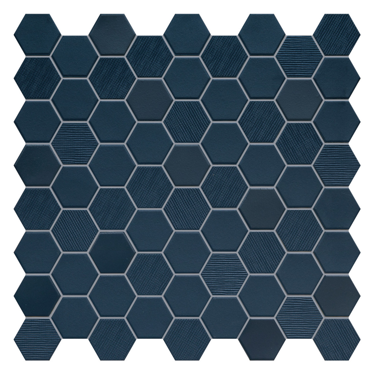 hexa deep navy hexagon mixed mosaic