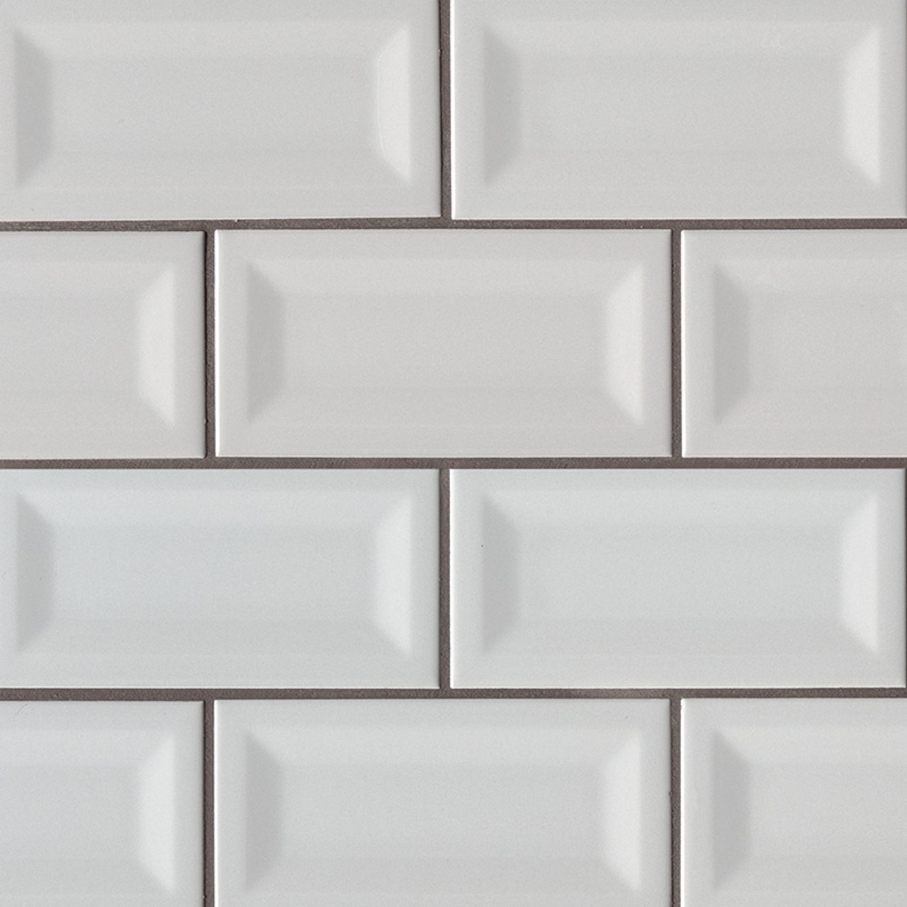 domino gray glossy inverted beveled subway tile 3x6
