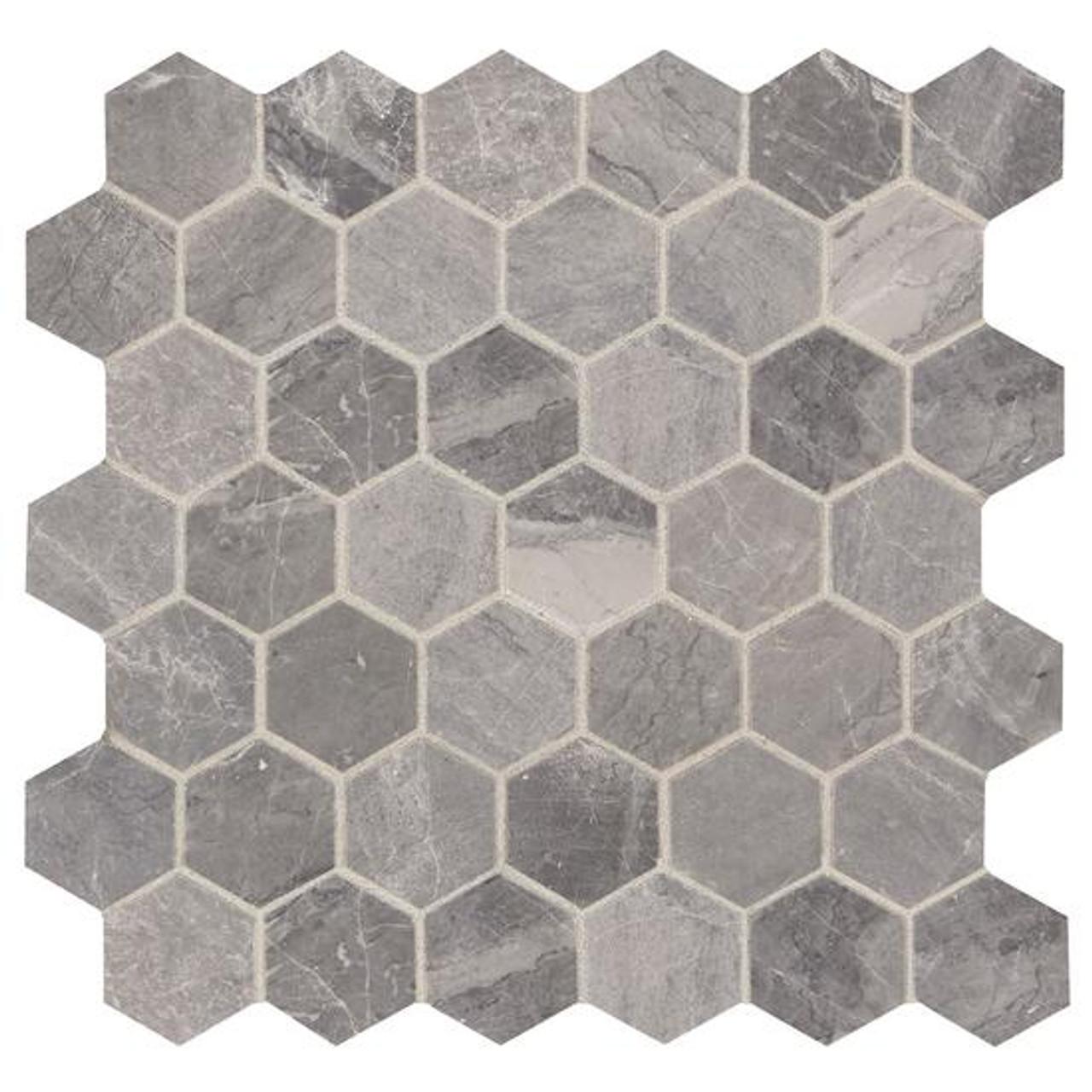 presario meta silver honed 2 hexagon mosaic