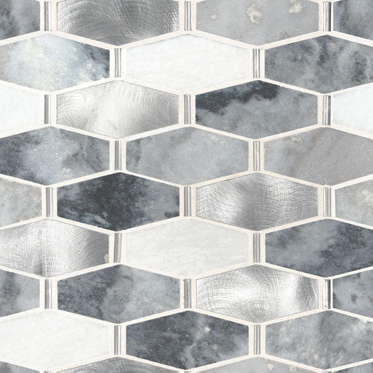 ankara metal and stone elongated hexagon mosaic