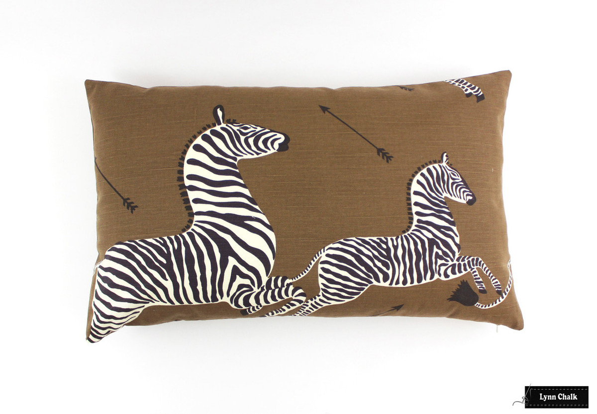 scalamandre zebras pillows with 16 x 26 with self welting both sides shown in denim comes in other colors 2 pillow minimum order