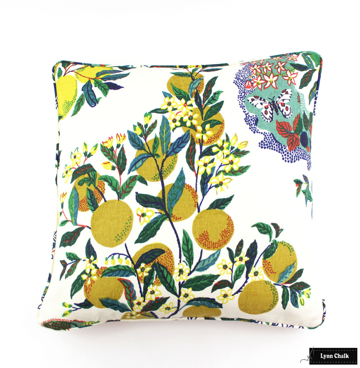 schumacher citrus garden custom pillows with self welting in primary both sides comes in linen and also indoor outdoor fabric 2 pillow minimum order