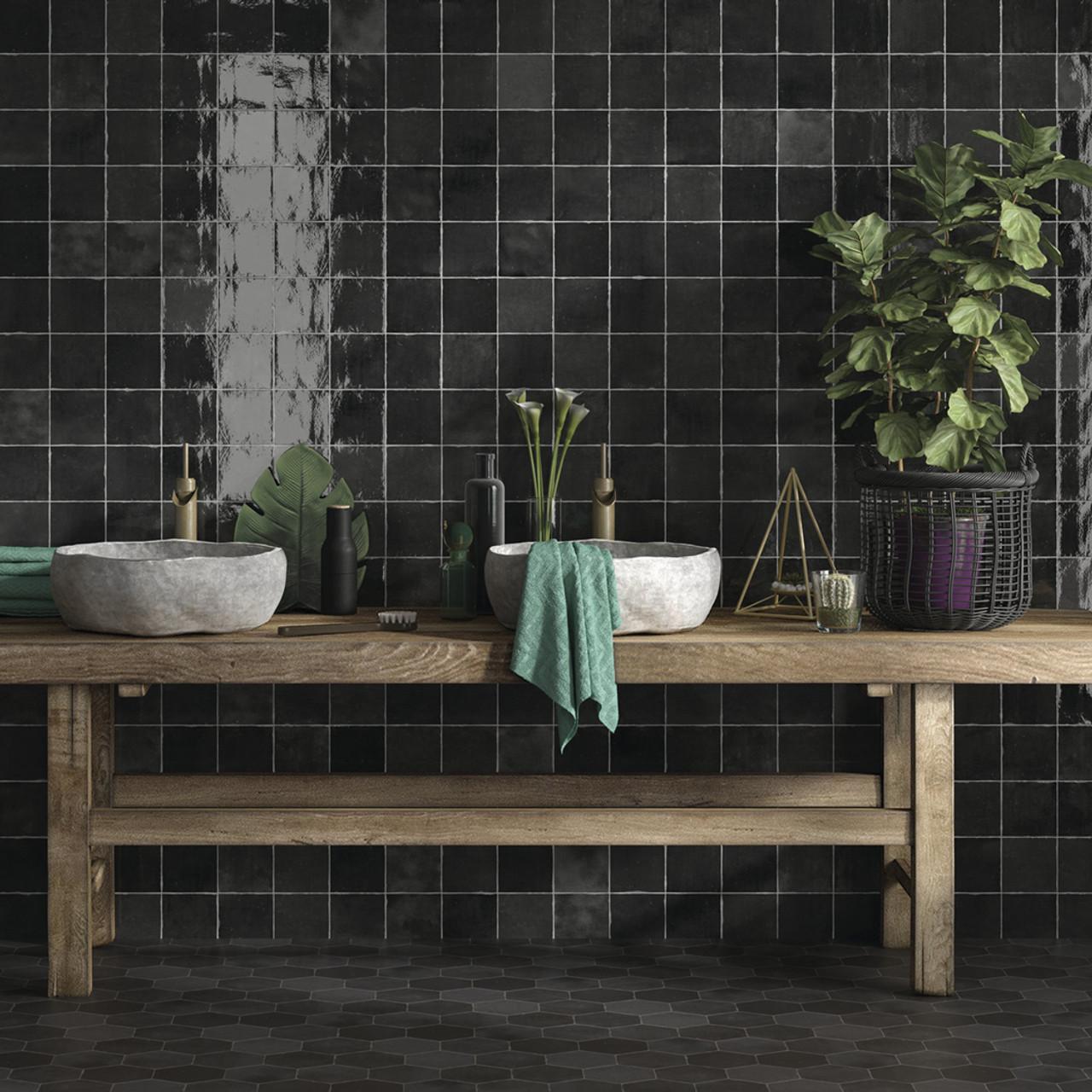 souk black ceramic 13cm x 13cm tile 60 sqm