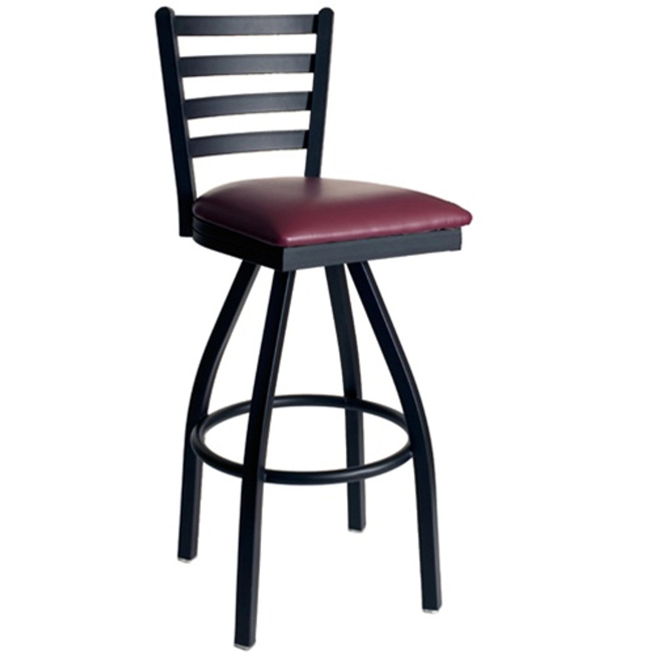 Bfm Seating Lima Metal Ladder Back Restaurant Swivel Bar Stool With Padded Seat 2160s Sbv Pub Bar Stools Commercial Bar Stools