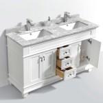 Moreno Fayer 60 Double Sink White Bathroom Vanity With Carrara Marble Top Bathroom Vanities Wholesale Inc