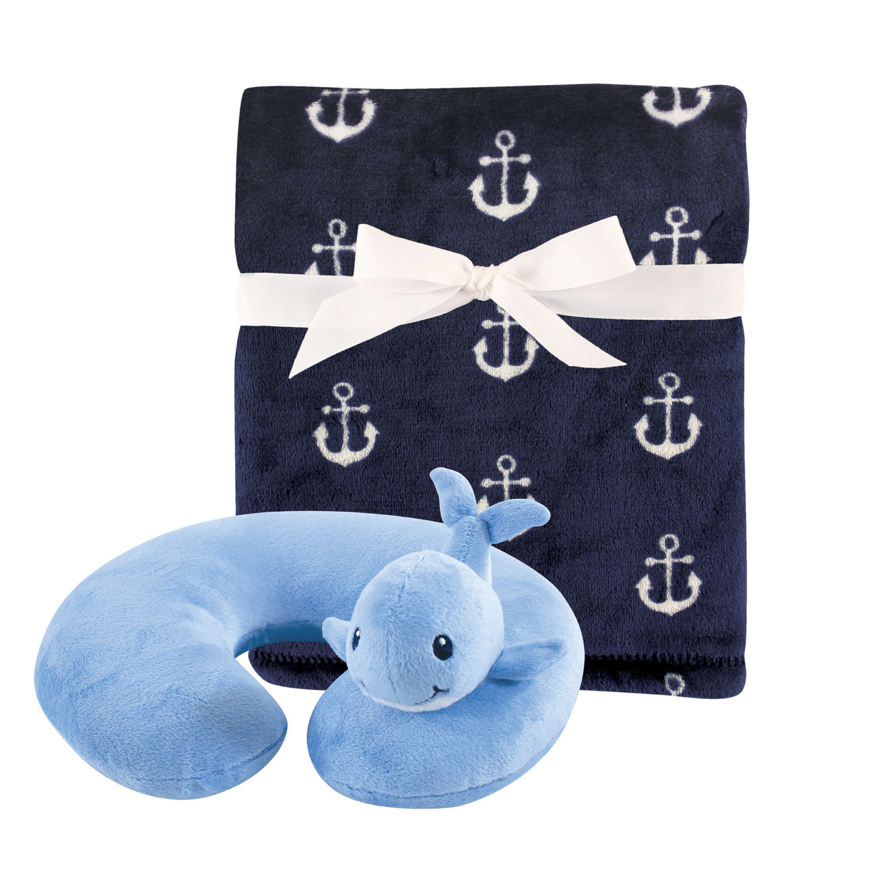 hudson baby travel neck support pillow and blanket set whale