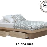 Queen Platform Bed With 4 Drawers On Tracks Oak Wood Gothic Furniture