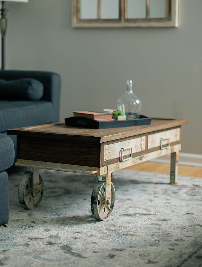Metal And Wood Coffee Table Coffee Table Cart
