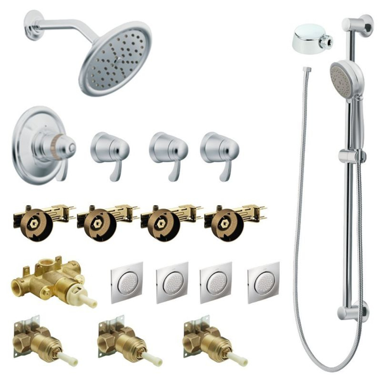 Moen Kspex Hb Ts277cr Exacttempa 7 In Rainshower Vertical Spa Kit With Handheld Shower And Slide Bar