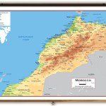 Morocco Physical Educational Wall Map From Academia Maps