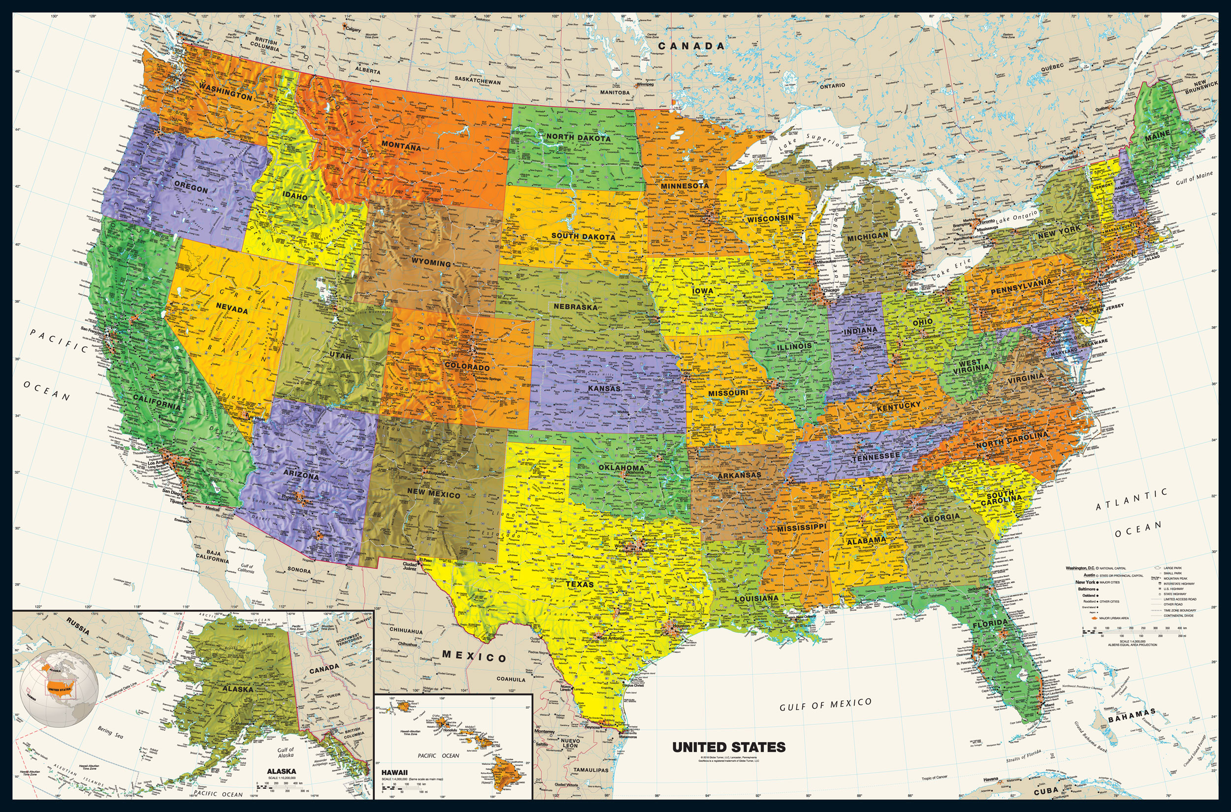 When requesting that google maps. Contemporary Usa Wall Map