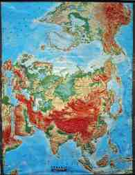 Global Eurasia Large Extreme Relief Map Relief Technik Vintage New Old Stock